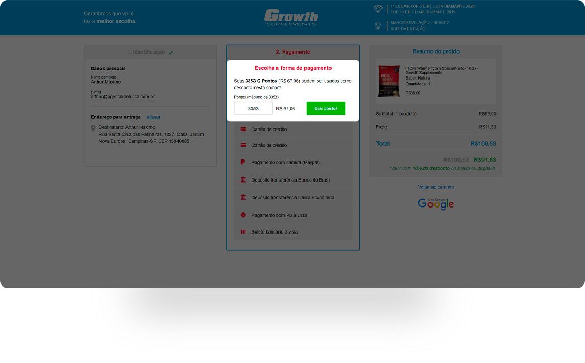 Em \'Pagamento\' selecione a opção \'Usar Pontos\' e confira o desconto no resumo do pedido.