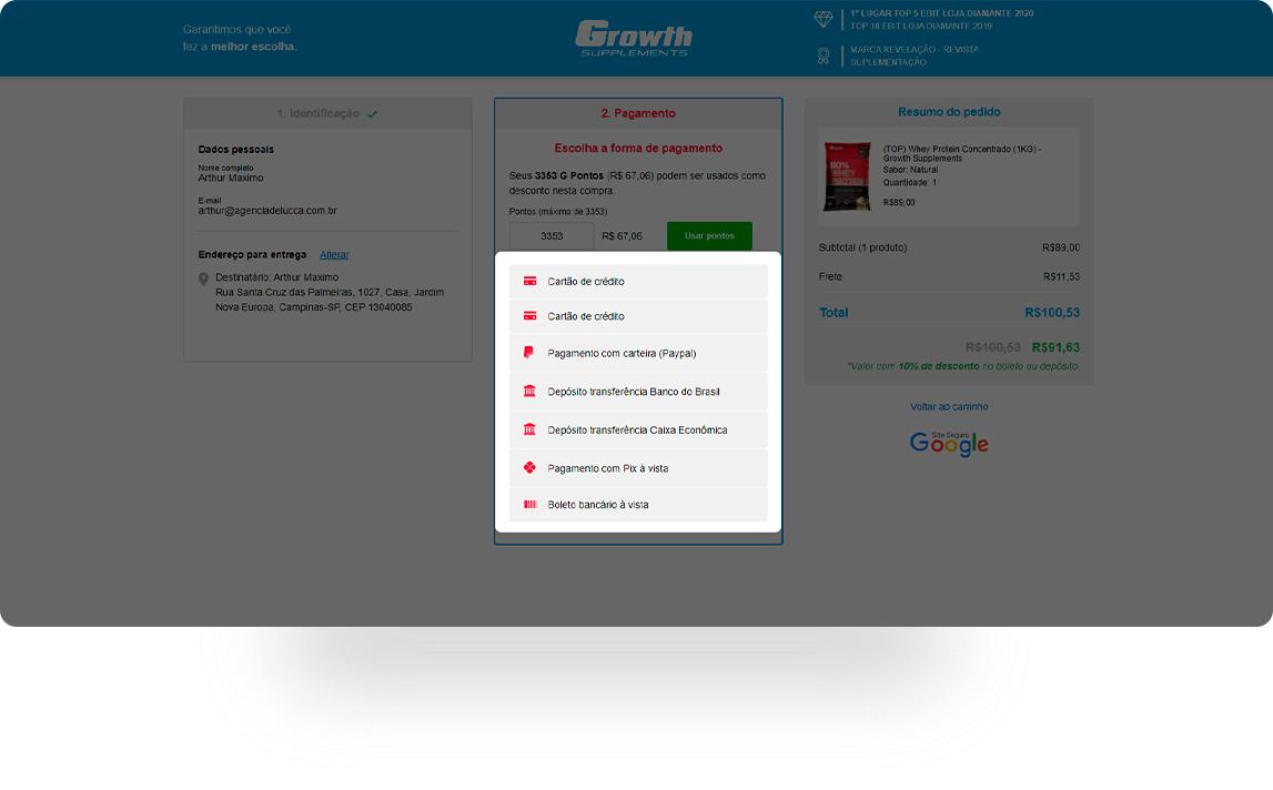 Selecione a forma de pagamento (cartão, boleto, transferência) e finalize a compra.