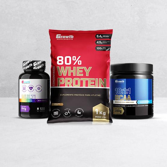 Whey Protein, Multivitamíco e BCAA da Growth Supplements