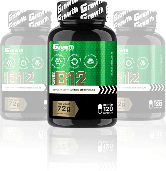 Vitamina B12 com 120 cápsulas - Growth Supplements