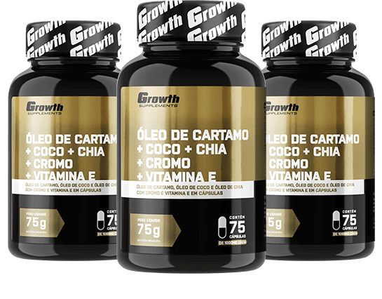 Óleo de Cartamo + Coco + Chia + Cromo + Vit. E (75 caps) - Growth Supplements
