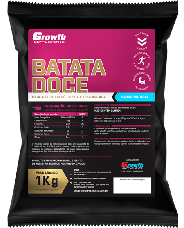 100% Batata Doce em pó (sabor natural) (1kg) - Growth Supplements