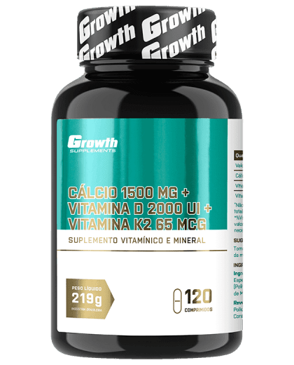 Cálcio 1500mg + Vitamina D3 2000UI + Vitamina K2 65 MCG - 120 comp - Growth Supplements