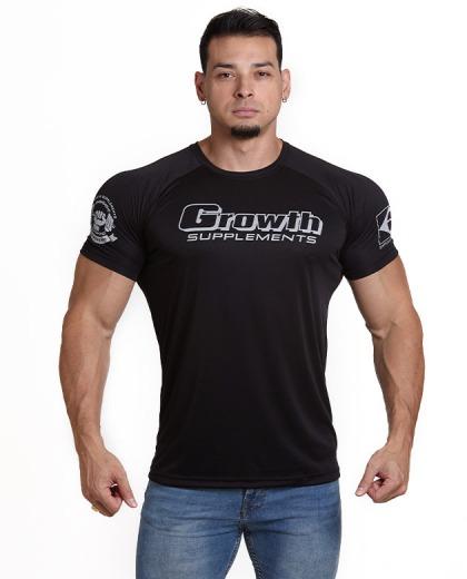 Camiseta de treino Dry-Fit Cor Preta com Caveira - Growth Supplements