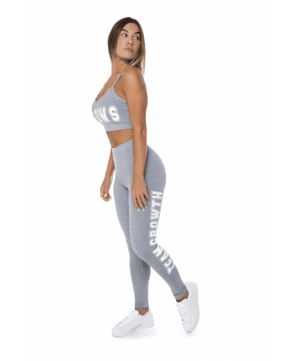 LEGGING CINZA COM TEAMGROWTH LATERAL BRANCO