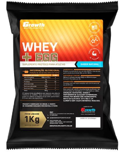 (TOP) Whey e Egg (sabor natural) (1KG) - Growth Supplements