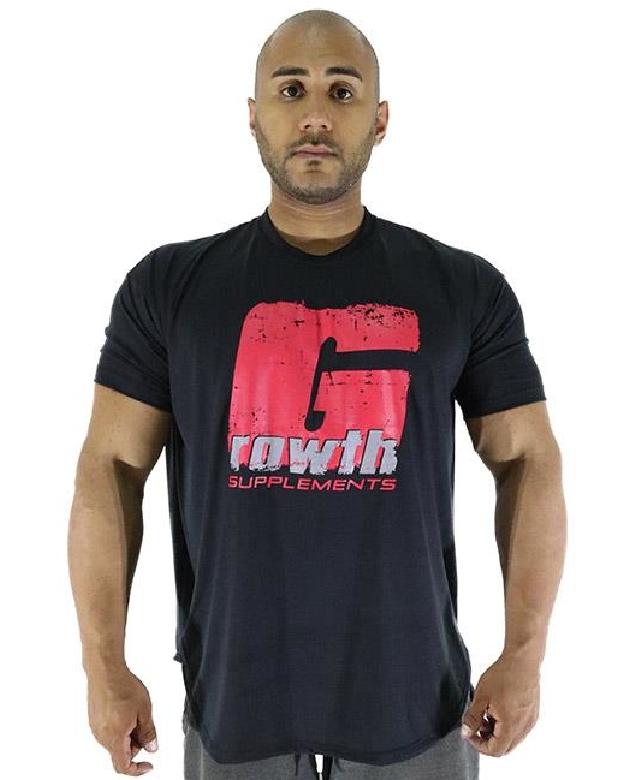 Camiseta preta Estampa Gzão vermelho  - Growth Supplements