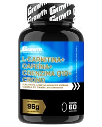 Suplemento L-CARNITINA + Q10 + GUARANA + PICOLINATO DE CROMO - 60 COMPRIMIDOS - GROWTH SUPPLEMENTS