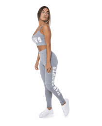 Suplemento LEGGING CINZA COM TEAMGROWTH LATERAL BRANCO
