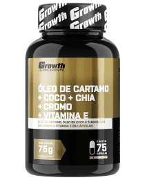 Suplemento Óleo de Cartamo + Coco + Chia + Cromo + Vit. E (75 caps) - Growth Supplements