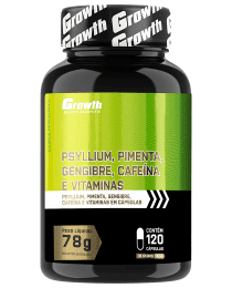 Suplemento Psyllium, Pimenta, Gengibre, Cafeína e vitaminas 120 caps - Growth Supplements