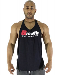 Suplemento Regata Cavada Preta Estampa logo Growth - Growth Supplements