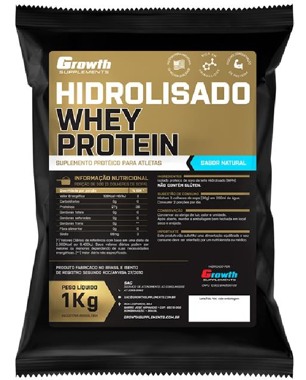 Whey Protein Hidrolisado (1kg) (sabor natural) - Growth Supplements